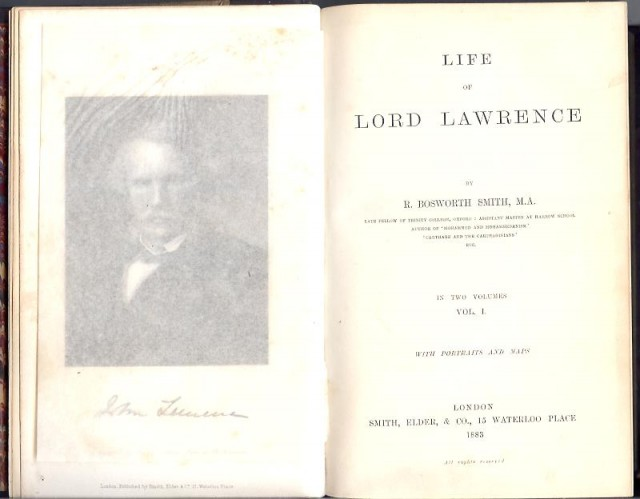 Life of Lord Lawrence inscribed by Florence Nightingale